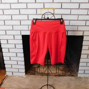 Red spandex shorts